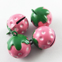 5pcs/pack Jingle Bells Strawberry Crafts Necklace Pendant Charms Christmas Cherry Phone Pet Decor Baby Gift 21*17*16mm 51925(China)