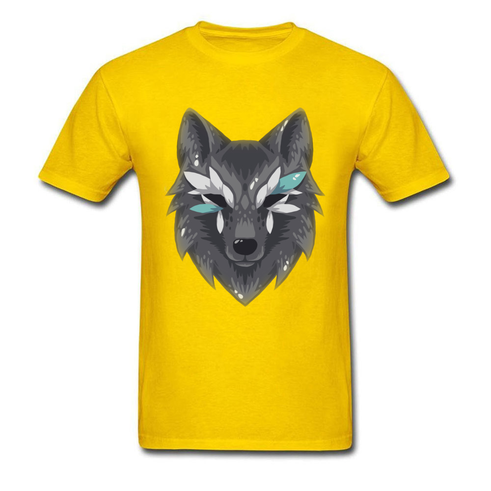 The Wolf Men Graphic Normal Tops & Tees Round Collar Summer Fall 100% Cotton Top T-shirts Design Short Sleeve T Shirts The Wolf yellow