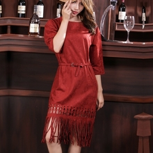 Ladies Fashion Suede Dress party Fifth Sleeve Fringe Tassel Dresses High Quality Vestidos 2016 New Autumn And Winter With Belt