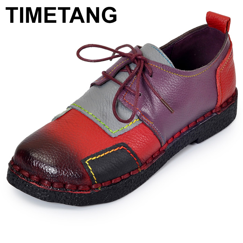 TIMETANG Handmade Shoes Genuine Leather Flat Lacing Mother Shoes Woman Loafers Soft Single Casual Shoes Women Flats C165<br>