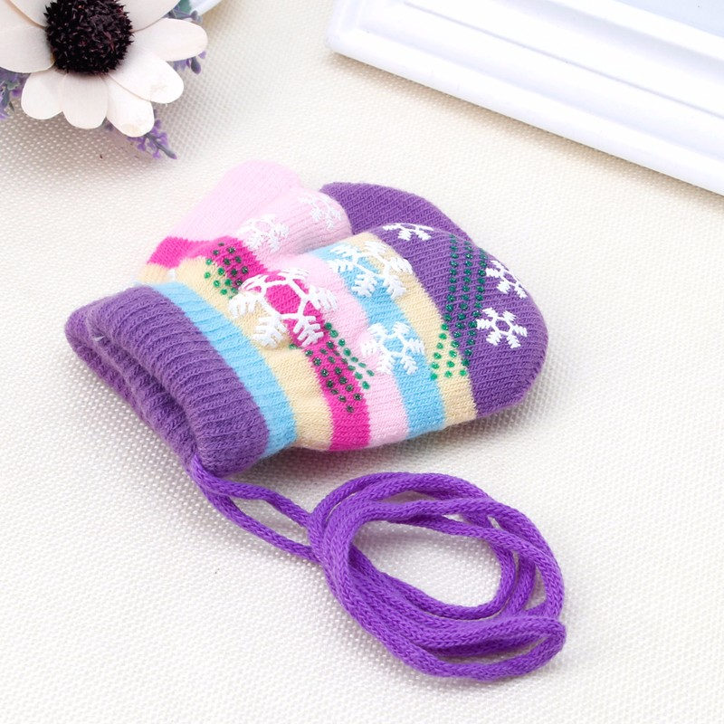 Snow Gloves Kids Mitten Children Knit Velvet Warm Kid Gloves Winter(China)