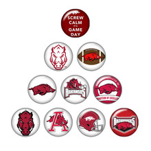 New ZB0389 mixed 10pcs NCAA ARKANSAS RAZORBACKS team logo 18mm/20mm/25mm glass cabochon & snap buttons for DIY jewelry(China)