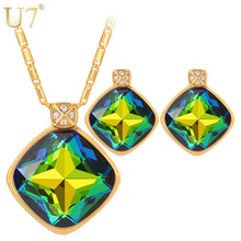 U7 Green Crystal Earrings And Charm Necklace Set For Women Gold Color Luxury Square Rhinestone Engagement Jewelry Sets S1001(China)