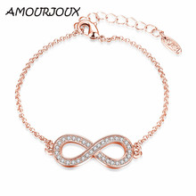 AMOURJOUX Fashion 8 Shaped Rose Gold Color Charm Bracelets & Bangles With Clear CZ Female Clasp Bracelet Jewelry Woman Gift