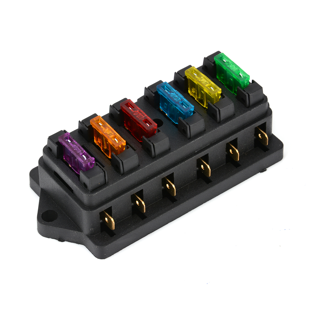 1pc 6.3mm 6 Way Circuit Standard Blade Fuse Holder DC12V/24V with 6 Fuses For Auto Car Accessories