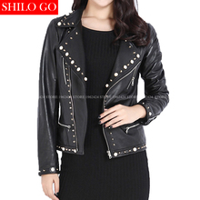 Plus size fashion women high quality Sheep skin Lapel pearl decorative zipper locomotive black shenzhen genuine leather jackt(China)