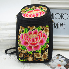 Classical Ladies Handbags Flower Embroidered Wallet Girls Shoulderbag Purse Handmade Tibet Style Canvas Camera Phone Holder Bag