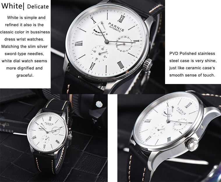 Men's Watches Reasonable 2017 New Arrival Parnis Power Reserve Automatic Watch Mechanical Bussiness Dress Mens Watches Mesh Thin Steel Band Gold Silver High Quality And Inexpensive Mechanical Watches