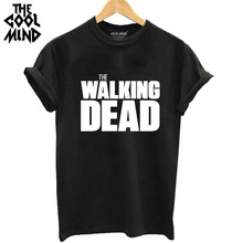 Buy THE COOLMIND Summer 100% cotton Walking Dead printed Women T shirt Tops Tees Short sleeve o-neck loose women T-shirt for $5.98 in AliExpress store