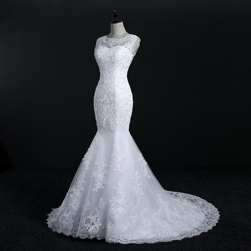 Fansmile New Arrival Lace Mermaid Wedding Dresses 2017 Plus Size Bridal Alibaba Wedding Dress Real Photo Free Shipping FSM-144M 5