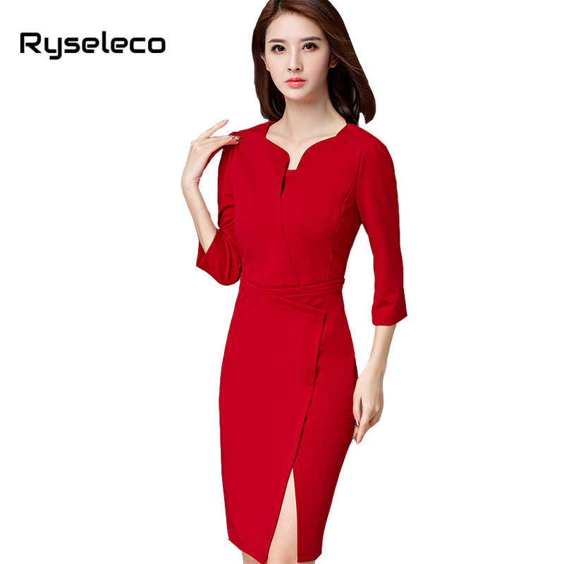 On Sale Autumn Winter Women Business Dress Irregular Sexy Split black OL Office Work Bodycon Sheath Casual Slits Pencil Dresses(China)