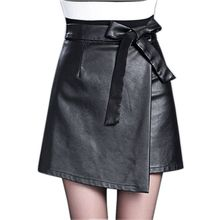 Buy 3XL 4XL PU leather Skirt Women Plus Size Autumn Winter Sexy High Waist Faux leather Skirts Womens Bow Tie Fashion Mini Skirt for $16.38 in AliExpress store