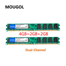 MOUGOL New Sealed DIMM DDR2 800Mhz 4GB(2GBX2Pieces) PC2-6400 memory for Desktop RAM,good quality!