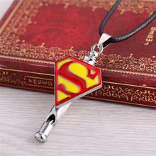 Superhero Series Silver Alloy Pendant Necklaces For Women Men Superman New Arrival Leather Necklace As Whistle Dropshipping