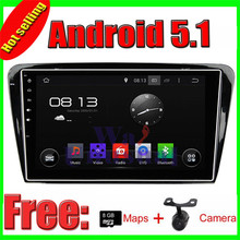 10.1Inch Android 5.1 Quad Core Auto GPS Navigation for Skoda Octavia 2014 2015 with GPS WIFI BT RDS Mirror Link Free Maps+Camera