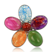 Colorful Natural Stones Imitation Gemstone Resizable Rings for Women Nice Anelli Donna Jewellery J02351