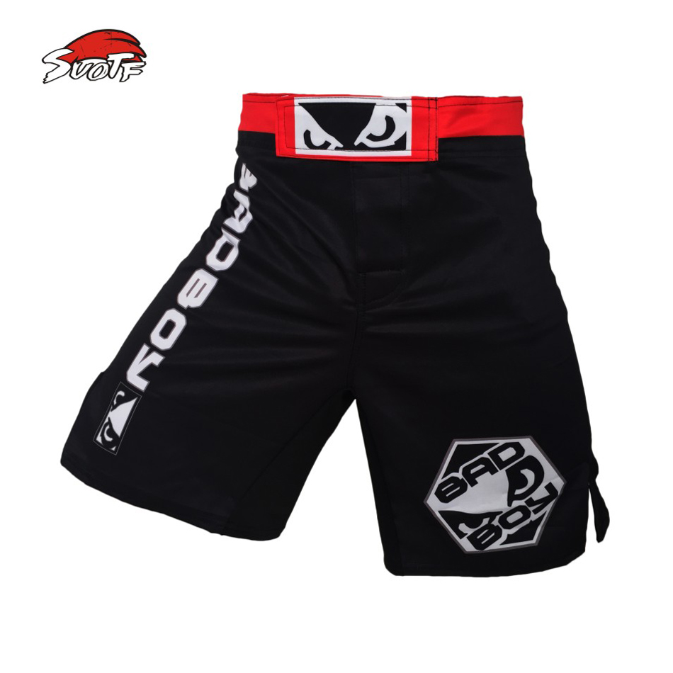 SUOTF MMA boxing match fitness training black and blue loose breathable cotton boxer shorts muay thai boxing muay thai shorts(China)