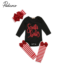 Christmas Baby Outfits Black Newborn Baby Girl Santa Rompers Jumpsuit Stripped Sequined Leg Warmers Headband 3PCS Clothes Sets