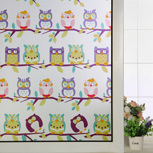 Decorative self adhesive/static cling frosted sticker balcony Bathroom Kids Room windows stickers cartoon animals owl 45x100cm