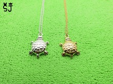 10PCS- N082 Fashion Tiny Sea Turtle Charm Necklace Dainty Tortoise Necklaces Lucky Bone Turtle Necklaces for Beach Party