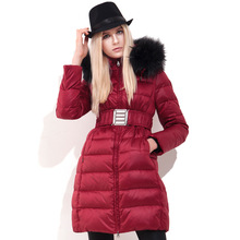 Womens down jackets Europe 2017 New Winter thick down coat Red/Black/Gold Daunenjacke long slim waist Down jackets