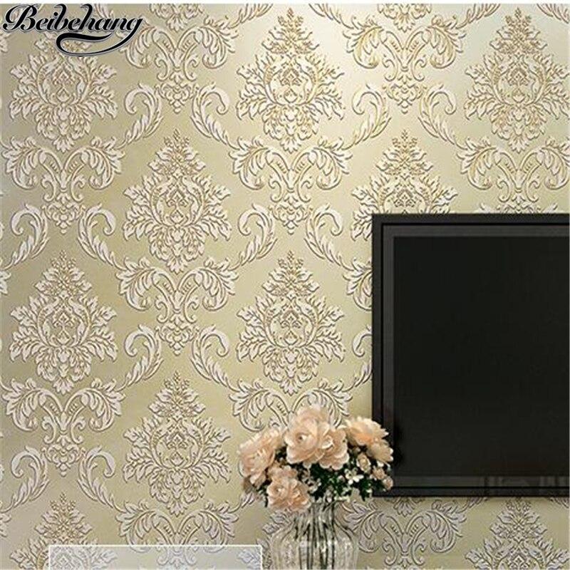 beibehang Wallpaper Retro Blue Nonwovens Continental Damascus Wallpaper Bedroom Living Room Full House Wallpaper papel de parede<br>