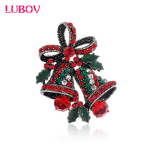 1x HIgh-end crystal rhinestone Christmas small bell brooch European Fashion Glazed Breastpin Women Christmas Gift Jewelry(China)