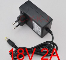 100PCS High quality 18V 2A AC 100V-240V Converter Adapter DC 18V 2A CCTV Camera Power Supply EU Plug DC 5.5mm x 2.1-2.5mm(China)