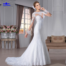 New Arrival Lace Long Sleeve Sexy Mermaid Wedding Dress 2017 Muslim Vestido De Noiva High Quality Plus Size Lace Bridal Dresses