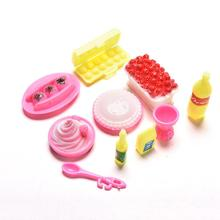 10Pcs/set Kids DIY Birthday Cake Dinner For Barbie Doll Children Baby Pretend Play Kitchen Food Toy Educational Classic Toy