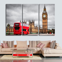 London Street Canvas Print Wall Art Cityscape Wall Decor Poster Big Ben Red Bus Triptych Painting Modern Home Decor No Frame