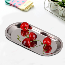 Promo Fashion Thick Stainless Steel Storage Trays Barbecue Plate Rice Dish Canteen Restaurant Dinnerware(China)