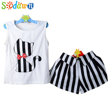 Sodawn Baby Girls Set T-shirt + Short Pants Summer Children's Suit.Clothes Beautiful Style Children's Clothing