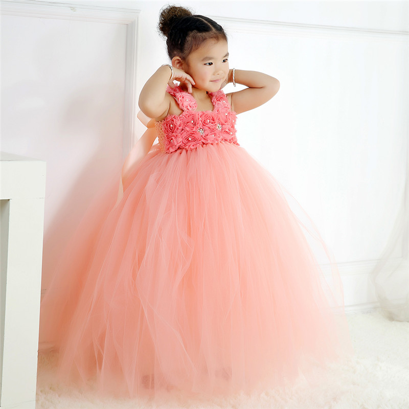 100% Real Photo Kids Girls Peach Dress For Party Princess Flower Straps Girls Birthday Tutu Dresses Kids Party Clothing<br>