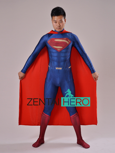 ZentaiHero Hot Sale 2017 Superman Costume Man of Steel Superman 3D Shade Spandex Lycra Halloween And Cosplay Zentai Catsuits