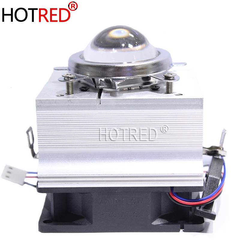 60° 44mm Lens Reflector Brack 100W LED Aluminium Heat Sink Cooling Fan