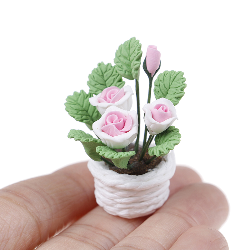 1//12 Dollhouse Home Decoration Clay Plant Tree Braziletto with Green Leaves