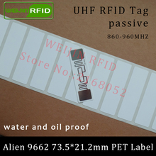 UHF RFID tag Alien 9662 printable PET label 915mhz 900mhz 868mhz 860-960MHZ Higgs3 EPCC1G2 6C smart card passive RFID tags label