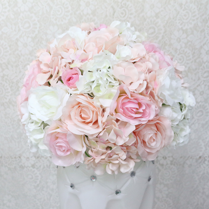 JAROWN Artificial Wedding Flower Ball Simulation Rose Hydrangea Flowers Hemisphere Roman Column Decor Home Party Decor Flores (8)