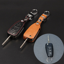 High quality leather car key cover remote control cover for Ford Focus 3 Focus MK4 Ecosport Kuga dust collector car styling