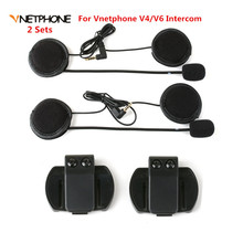 2PCS Headset Microphone Headphone Speaker&Clip Accessories ONLY Suit for V6/V4 Moto Bluetooth Helmet Intercom Headset Interphone(China)