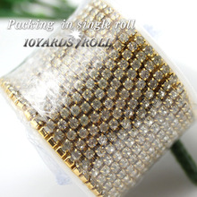 Clothes sewing chain 10yards/roll 3mm gold base shiny crystal rhinestone crystal rhinestone chain