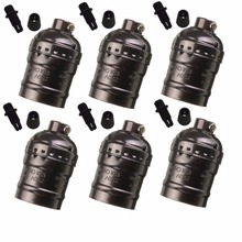 6pcs E27 Light Socket, Metal Shell Edison Retro Pendant Lamp Holder For Lamp Socket Fixture Replacement, Industrial Vintage DIY(China)