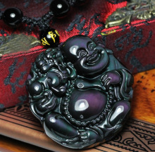 Natural rainbow eye obsidian maitreya laughing Buddha necklace mythical wild animal pendant luck amulet necklace(China)