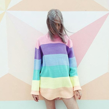 Women Pullover Urtleneck Rainbow Sweater Maccaron Color Stripes Loose Sweater Tumblr Female 2018 Spring Autumn New Fashion(China)