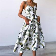 Strap V Neck Summer Dress Women Sunflower Pineapple Print Backless Party Dress Casual Vestidos High Wasit Midi Dress Female(China)