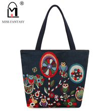 Vintage Style Women's Canvas Tote Bag Female Casual Beach Bag Popular Handbag Large Capacity Shopping Bag Daily Use Owl Printed(China)