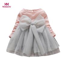 MUQGEW Kids'dress Toddler Baby Girls Bowknot Long Sleeve Princess Elegant Tutu Dress Clothes Fashion Cotton High Quality Dresses(China)