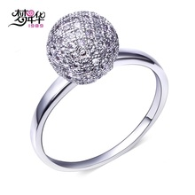 Dreamcarnival 1989 Cute Ball Charms Ring For Women Rhodium Gold Color Elegant Cubic Zircon Costumes Jewelry Anillos Mujer Ringen(China)