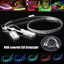 Mising 2PCS 60CM 23 RGB LED Strip Light 3528 SMD USB Battery Power Colorful Changing LED Strip Shoes Light(China)